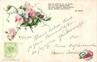H. Heine poem, flowers litho Ga, H. Heine vers, Virágok litho Ga