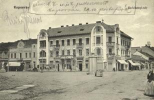 1914 Kaposvár, Széchenyi tér, Ungár Izidor, Grósz és Keszler, Frank Béla, Weisz Samu és Leitner üzlete