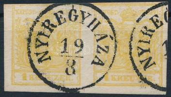 """1kr MP III yellow pair """"NYIREGYHÁZA"""" Certificate: Steiner, 1kr MP III pár sárga színben """"NYIREGYHÁZA"""" Certificate: Steiner"""