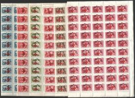 1957 Vöröskereszt 100 sor hajtott teljes ívekben (90.000) / Mi 1482-1487 folded complete sheets of 100 (gyártási ráncok / creases)