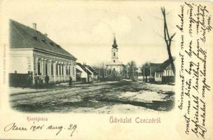 1901 Cece, Czecze; Községháza és templom télen. Szilárdfij Szilárd fölvétele