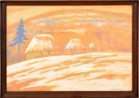 Grofniczy jelzéssel: Téli táj. Vegyes technika, papír, üvegezett keretben, 31×44 cm