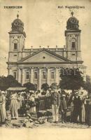 1911 Debrecen, Református Nagytemplom, piac. Antalfy József kiadása (EK)