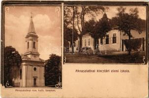 Aknaszlatina, Slatinské Doly, Solotvyno; Római katolikus templom, Kincstári elemi iskola / church, treasurys school. Art Nouveau