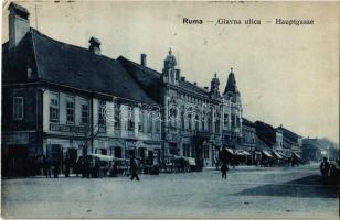 1920 Árpatarló, Ruma; Fő utca, üzletek, piac / Hauptgasse / Glavna ulica / main street, shop, market (EK)
