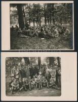 cca 1930 Egyetemi óra a természetben, 2 db fotólap, 9×14 cm