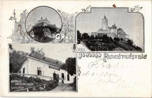 1901 Fraknó, Forchtenstein; vár, Andreas Wegscheidler vendéglője / Schloss, Gastwirt, Gasthaus / castle, restaurant. Art Nouveau, floral