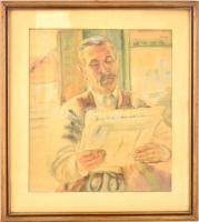 Bordy András (1905-1989): Újság olvasó férfi. Akvarell, papír, jelzett, üvegezett keretben, 43×37 cm