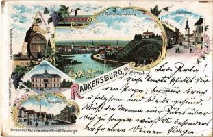 1899 (Vorläufer!) Bad Radkersburg, Langegasse, Schloss, Hauptplatz, Sparkasse / street and square, castle, savings bank. Grapes. Karl Schwidernoch Art Nouveau, floral, litho (EK)