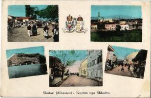 Shkoder, Shkodra, Skutari; Kujtim nga / greetings, streets, market, coat of arms of the Austro-Hungarian Empire + K.u.K. Kraftwagenkolonne Nr. 35.