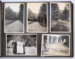 cca 1930 Érdekes fotóalbum életképekkel: utazások, nyaralások, stb., összesen 34 db