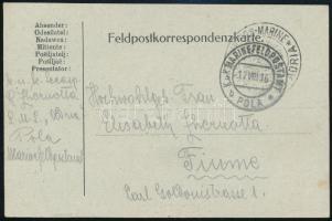 1916 Tábori lap / Postcard K.u.k. KRIEGS-MARINE S.M.S. ADRIA + MFP POLAS b