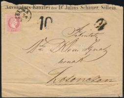 1872 5kr levélen kései felhasználás!, 2 klf típusú 10 portó számbélyegzővel. Érdekes és ritka darab!!