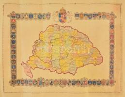 Nagy-Magyarország vármegyéi és címerei. Modern térkép. Nyomat mérete 47x36 cm