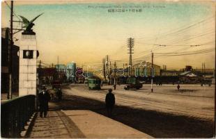 Yokohama, View of Sakuragicho Railway Station from Ohyebashi Bridge, tram, automobile