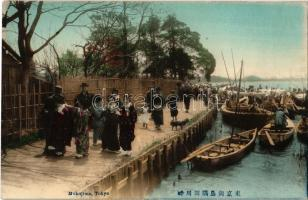 Tokyo, Mukojima, Sumida river side, fishermens boats, geisha girls