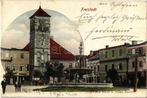 1899 Frystát, Freistadt; Hauptplatz, Spar-Cassa, Josef Blaski, Rathaus / main square, savings bank, shop, town hall, fountain