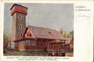 Cerchov, Schwarzkopf; Kurzova Véz a Chyse Pasovského, Majetek Odboru Klubu C. Turistu v Domazlicích, Kurzova rozhledna / stone lookout tower
