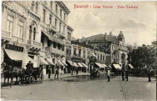 1914 Bucharest, Bucuresti; Calea Victorei, Piata Teatrului, Marele Hotel, Gaz Electricitale / street and square, automobile, chariots, shops of George Riegler and J. Matejka
