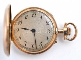 14 K arany, női zsebóra. Vésett tokkal, működő, szép állapotban, óratartó dobozzal / 14 C womens golden pocket watch in nice condition d:30 mm, 20,48 g