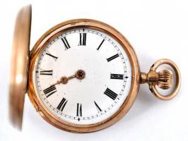 14 K arany, női zsebóra. Vésett tokkal, üveg nélkül, egy mutató lejár. Működő állapotban, óratartó dobozzal / 14 C womens golden pocket watch in nice condition d:30 mm, 23,7 g