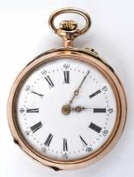 14 K arany, női zsebóra. Vésett tokkal, Működő állapotban, óratartó dobozzal / 14 C womens golden pocket watch in nice condition d:30 mm, 24 g