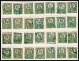 1871 Réznyomat 3kr 28 db vegyes minőségű bélyeg sok színváltozattal (min. 154.000)
