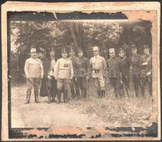 cca 1914 Főtisztek hadgyakorlaton Kartonra ragasztott fotó 24x20 cm