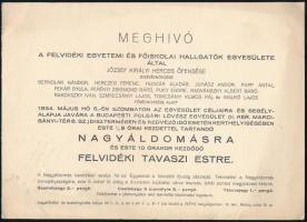 1934 Felvidéki Egyetemi és Főiskolai Hallgatók Egyesülete meghívója Nagyáldomásra, és Felvidéki Tavaszi Estre.