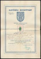 1939 Izraelita ügyvéd budapesti illetőségi bizonyítványa.