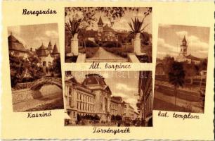 Beregszász, Berehove; Kaszinó, Állami borpince, törvényszék, katolikus templom / casino, wine cellar, court of justice, church (ázott / wet damage)