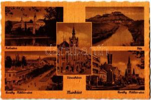 Munkács, Mukacheve, Mukacevo; Kolostor, vár, városháza, Horthy Miklós utca / monastery, castle, town hall, street