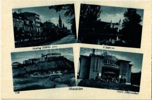 Munkács, Mukacheve, Mukacevo; Horthy Miklós utca, klastrom, vár, Scala filmszínház / street, monastery, castle, cinema
