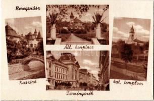 Beregszász, Berehove; Kaszinó, Állami borpince, törvényszék, katolikus templom / casino, wine cellar, court of justice, church