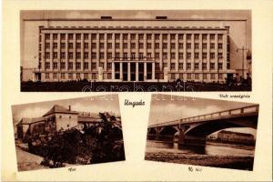 Ungvár, Uzshorod, Uzhorod; Volt országház, vár, új híd / former parliament building, castle, new bridge