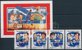 1994 Labdarúgó-világkupa 1994, USA sor + blokk, Football World Cup 1994, USA set + block Mi 1196 A - 1199 A + Mi 35 A