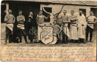 1902 Wien, Vienna, Bécs; Herzlichen Glückwunsch zum neuen Jahre, Fleischerzunft, Metzger / butcher guilds New Year greetings with ox