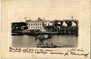 1903 Bad Radkersburg, Baggerschiff (Schwimmbagger), Lastkahn / dredge and barge