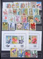 Virág motívum kb 800 db bélyeg és 3 blokk, főleg európai gyűjtemény A4-es berakóban / Flower motif ca. 800 stamps and 3 blocks, mostly European issues