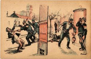 Statárium a munkás ellen és a fehérek ellen. Fehérterror Magyarországon. Verlag der Arbeiter-Buchhandlung / White Terror in Hungary, left-wing propaganda card s: Bíró (EK)