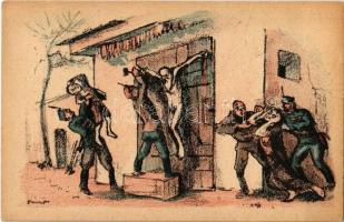 Nézd azt a zsidó apádat!. Fehérterror Magyarországon. Verlag der Arbeiter-Buchhandlung / White Terror in Hungary, left-wing propaganda card, Judaica s: Bíró
