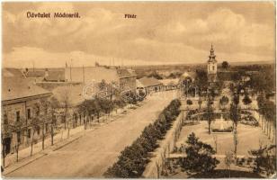 1914 Módos, Jasa Tomic; Fő tér, Millenniumi emlékoszlop, Szerb ortodox templom. Kiadja Kohn L. / main square, millennium monument, obelisk, Serbian Orthodox church (EK)