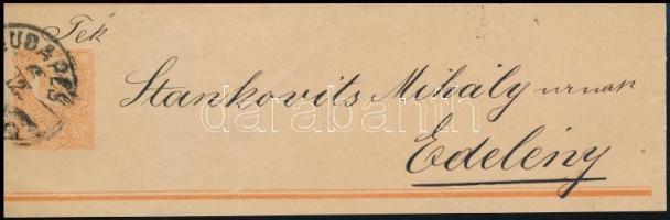 1876 2kr teljes címszalag / complete wrapper BUDAPEST - Edelény