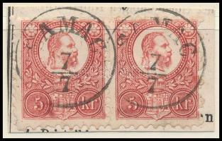 1871 Réznyomat 5kr pár kivágáson / Mi 10 pair on cutting SAMAC