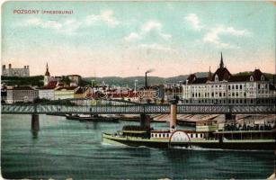 1908 Pozsony, Pressburg, Bratislava; vár, vasúti híd, gőzhajó. Bediene dich allein / castle, railway bridge, steamship, steamer (kopott sarkak / worn corners)