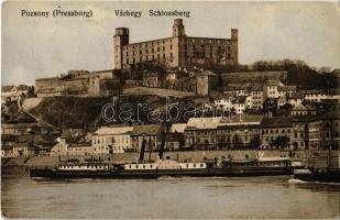 Pozsony, Pressburg, Bratislava; Várhegy, vár, VESTA gyorsgőzös / Schlossberg / castle hill, castle, steamship, steamer (EK)