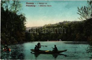 Pozsony, Pressburg, Bratislava; Vödrici völgy, 1. Vödricz tó, evezős csónakok / Wödritz-Teich / Vydrica / valley, lake, rowing boats