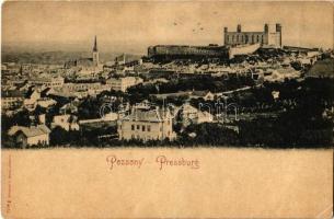 Pozsony, Pressburg, Bratislava; látkép a várral. Römmler & Jonas / general view with castle (ragasztónyom / glue marks)