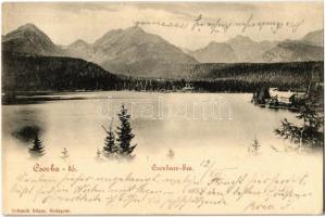 1898 Tátra, Magas Tátra, Vysoké Tatry; Csorba-tó, menedékház / Strbské pleso / Csorbaer-See / High Tatras, lake, chalet