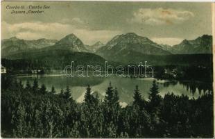 Tátra, Magas Tátra, Vysoké Tatry; Csorba-tó, menedékház / Strbské pleso / Csorba-See / Jezioro Csorba / High Tatras, lake, chalet (fl)